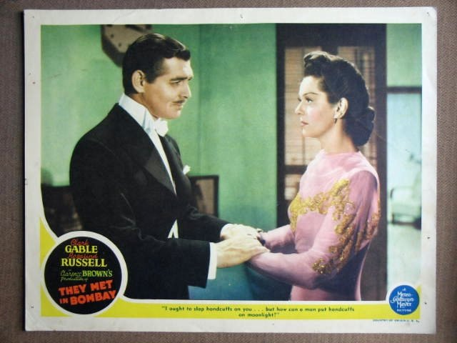 EX47 They Met In Bombay CLARK GABLE/RUSSELL Lobby Card