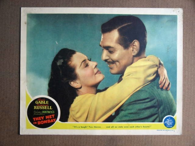 EY41 They Met In Bombay CLARK GABLE/RUSSELL Lobby Card
