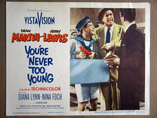 FG47 You're Never To JERRY LEWIS/DEAN MARTIN Lobby Card