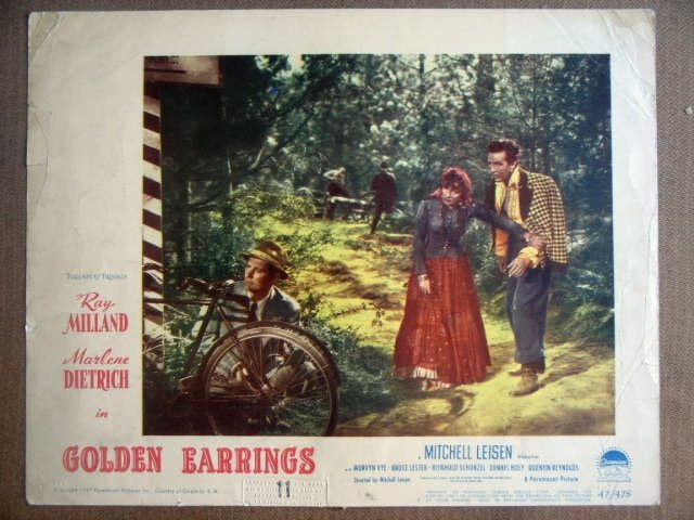 GJ12 Golden Earrings MARLENE DIETRICH 1947 Lobby Card