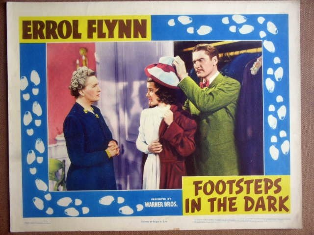 GP10 Footsteps In The Dark ERROL FLYNN 1941 Lobby Card