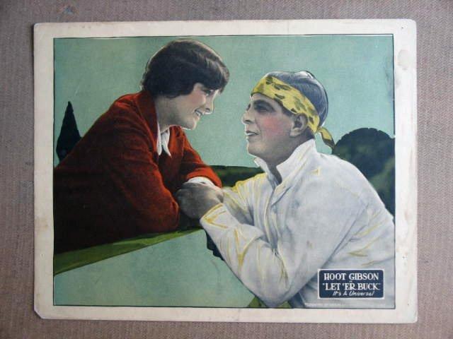 FU28 Let 'Er Buck HOOT GIBSON 1921 Portrait Lobby Card