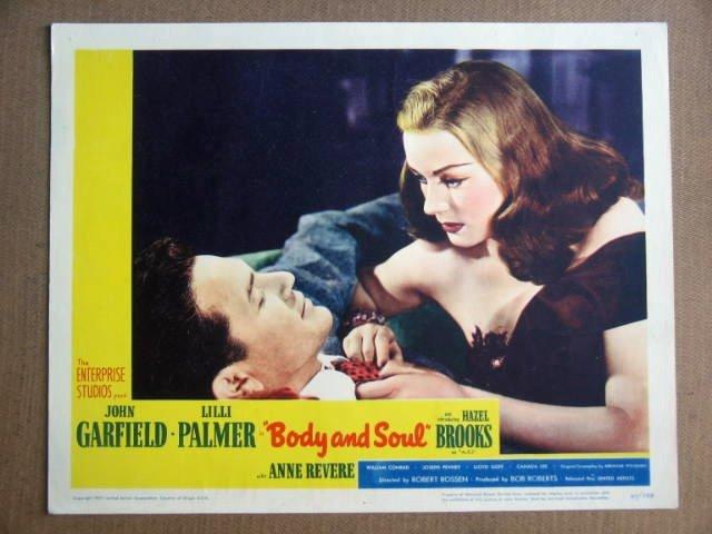 FW09 Body & Soul JOHN GARFIELD/LILLI PALMER Lobby Card