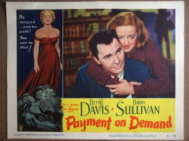 GY24 Payment On Demand BETTE DAVIS 1951 Lobby Card