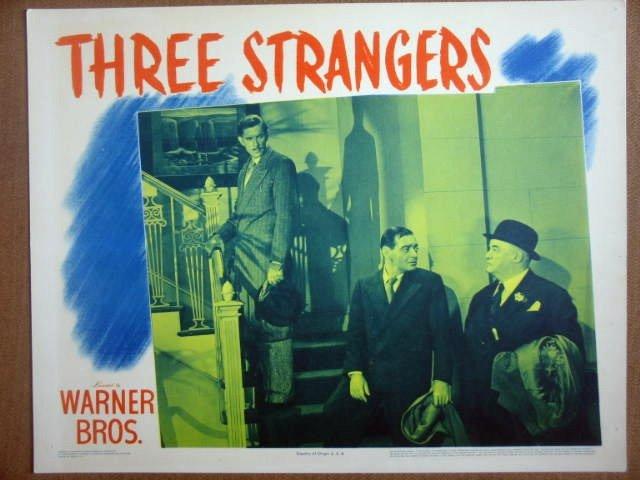 HG34 3 Strangers PETER LORRE/GREENSTREET Lobby Card