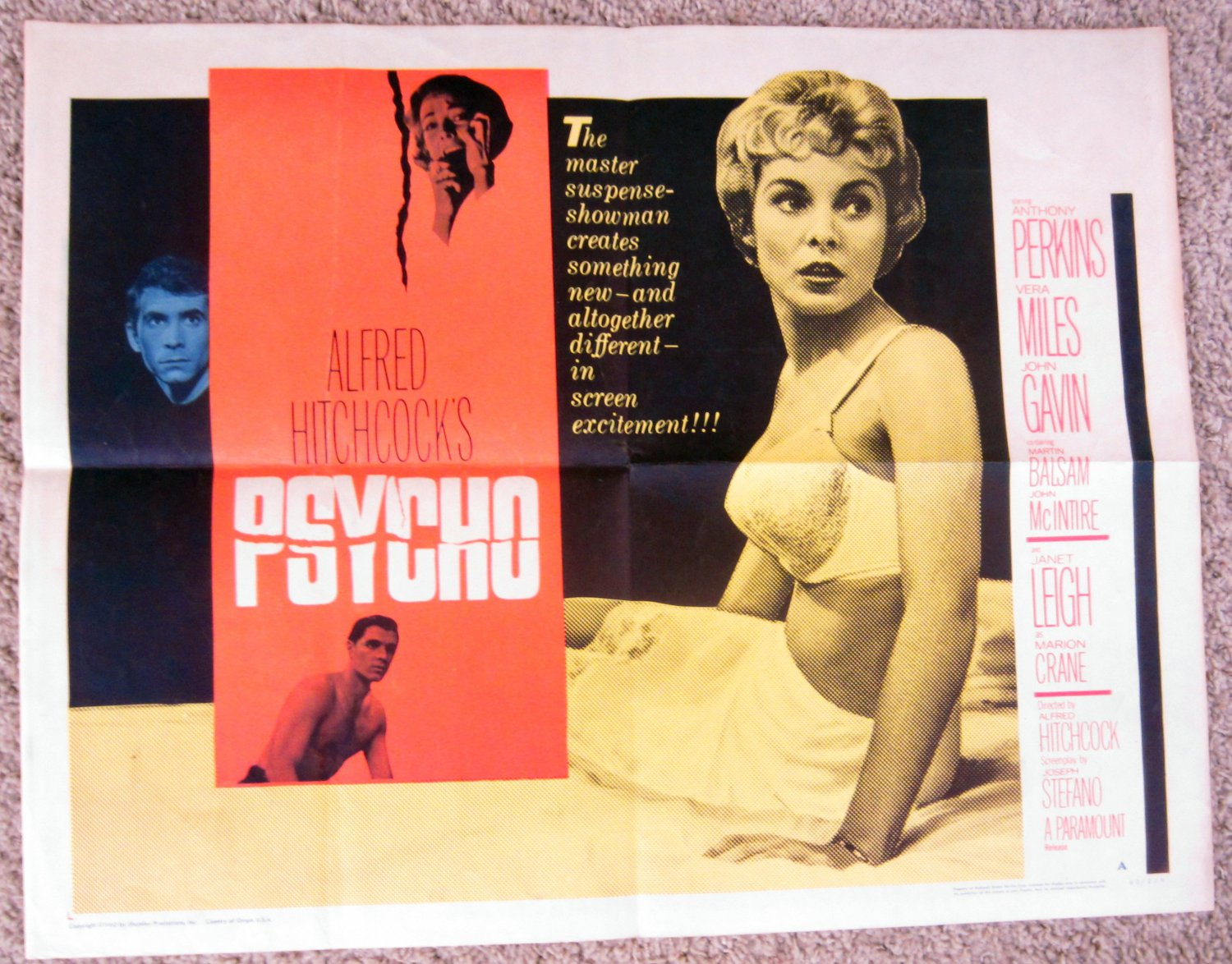 CK46 PSYCHO Janet Leigh in an ALFRED HITCHCOCK  Original 1960 HALF SHEET POSTER