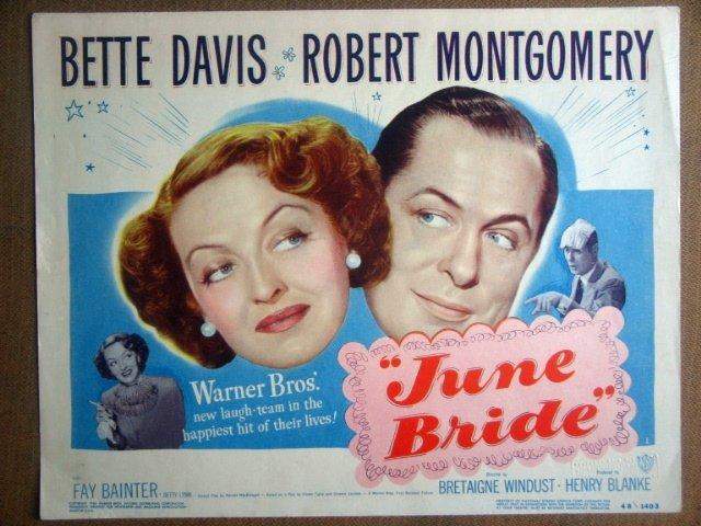 HP19 June Bride BETTE DAVIS/MONTGOMERY TITLE Lobby Card
