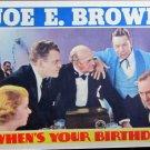 XY102 WHEN'S YOUR BIRTHDAY  Joe E. Brown  original 1937 lobby card