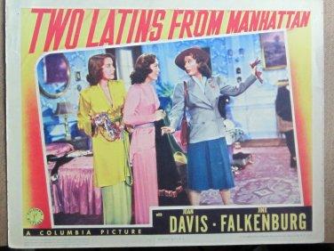 XY106 TWO LATINS FROM MANHATTAN Joan Davis/Jinx FRalkenburg orig 1941 lobby card