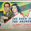 XY55 SHE KNEW ALL THE ANSWERS Joan Bennette / Franchot Tone orig 1941 lobby card