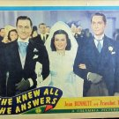 XY56 SHE KNEW ALL THE ANSWERS Joan Bennette / Franchot Tone orig 1941 lobby card