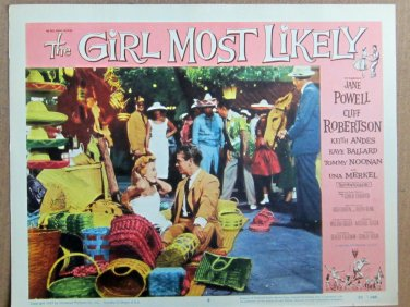 XY89 GIRL MOST LIKELY Jane Powell and Cliff Robertson  original  1957 lobby card