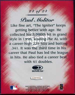 1997 Studio Master Strokes Jumbo Executive Promo/Sample Paul Molitor XXXX/5000 Masterstrokes