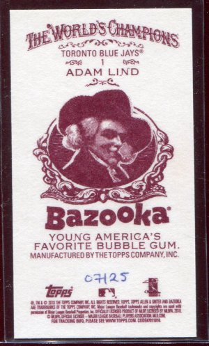 2010 Allen and Ginter Adam Lind #1 Bazooka Red Back /25