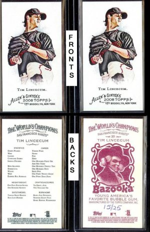 2008 Allen and Ginter Tim Lincecum #201 Bazooka Red and No Number NNO Minis mini /25