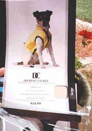 DOG JACKET VEST ZIPPERED ON FRONT YELLOW LARGE PUPPY