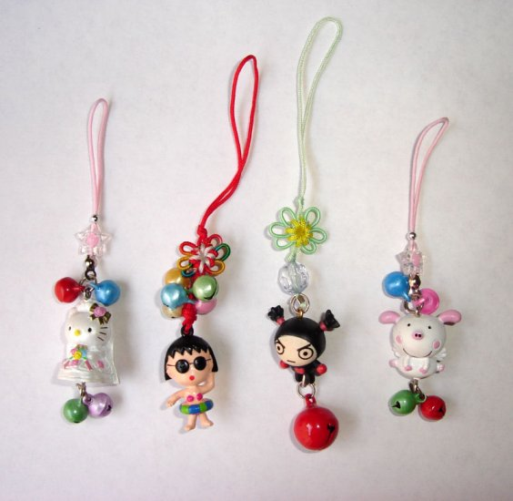Free Shipping 4pcs/lot Cute Doll & Metal Bell Chinese lucky Knots