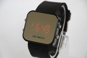 Free Shipping 2 pcs/lot New Mirrored Surface LED Watches