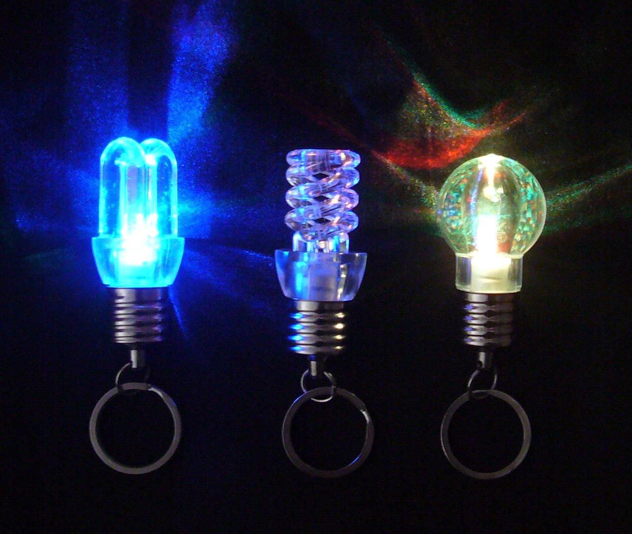 Free shipping---100 pcs/lot flashing multi-color rotating LED key chain bulb fashion decoration