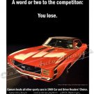 "1969 Camaro RS/SS Ad Digitized & Re-mastered Poster Print ""Word to the Competition-You Lose"" 18""x24"""