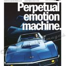 "1968 Chev.Corvette Stingray Ad Digitized & Re-mastered Print ""Perpetual Emotion Machine"" 18"" x 24"""