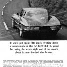 "1965 Chevrolet Corvette Stingray Ad Digitized & Re-mastered Print ""Down a Mountainside"" 18"" x 24"""