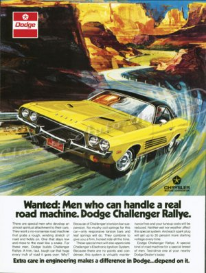 """1973 Dodge Challenger Rallye Ad Digitized & Re-mastered Poster Print """"Real Driving Machine"""" 18""""x24"""""""
