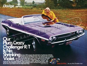 "1970 Dodge Challenger R/T Ad Digitized & Re-mastered Poster Print ""No Shrinking Violet"" 18"" x 24"""