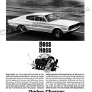 "1966 Dodge Charger Ad Digitized & Re-mastered Poster Print ""Boss Hoss"" 18"" x 24"""