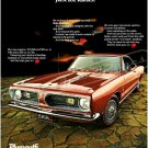 "1968 Barracuda Ad Digitized and Re-mastered Poster Print ""Just for Kicks"" 18"" x 24"""