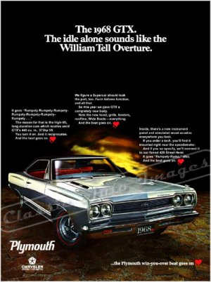 """1968 Plymouth Belvedere GTX Ad Digitized & Re-mastered Print """"William Tell Overture"""" 18"""" x 24"""""""