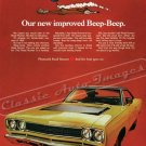 "1968 Plymouth Road Runner Ad Digitized and Re-mastered Poster Print ""New Improved Beep Beep"" 18""x24"""