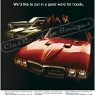 "1969 Pontiac Firebird Ad Digitized & Re-mastered Poster Print ""Put in a Good Word for Hoods"" 18""x24"""