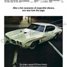 "1970 Pontiac GTO Judge Ad Digitized & Re-mastered Poster Print ""Respectful Silence"" 18"" x 24"""