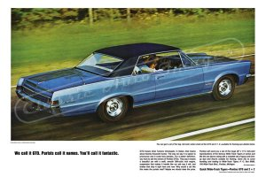 """1965 Pontiac GTO Ad Digitized & Re-mastered Poster Print """"Purists Call it Names"""" 16"""" x 24"""""""
