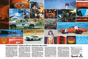"""1970 Plymouth Rapid Transit System Ad Digitized & Re-mastered Poster Print """"RTS Collage"""" 18"""" x 24"""""""