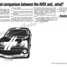"1969 American Motors AMX Ad Digitized & Re-mastered Poster Print ""Unfair Comparison"" 24"" x 36"""