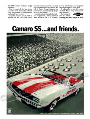 "1969 Camaro RS/SS Ad Digitized & Re-mastered Poster Print ""Camaro SS and Friends"" 24"" x 32"""
