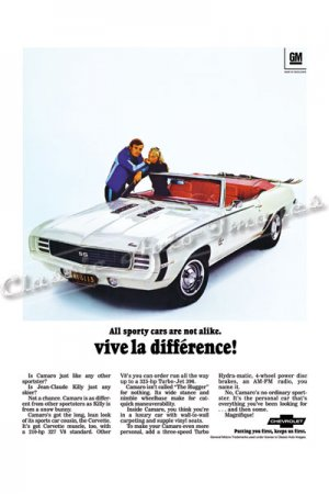 """1969 Camaro RS/SS Ad Digitized & Re-mastered Poster Print """"Vive le Difference"""" 24"""" x 32"""""""