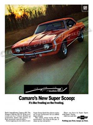 """1969 Camaro SS Ad Digitized & Re-mastered Print """"New Super Scoop-Frosting on the Frosting"""" 24"""" x 32"""""""