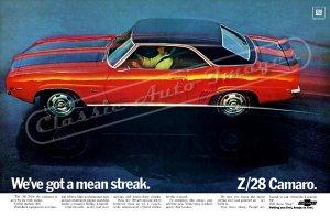"1969 Camaro Z/28 Ad Digitized & Re-mastered Poster Print ""We've Got a Mean Streak"" 24"" x 36"""