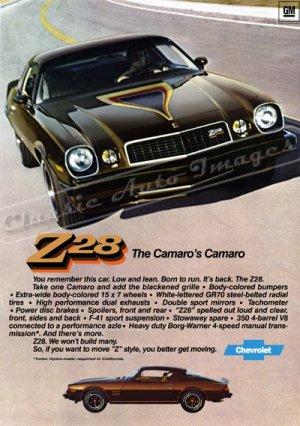 "1977 Camaro Z/28 Ad Digitized & Re-mastered Poster Print ""The Camaro's Camaro"" 24"" x 34"""
