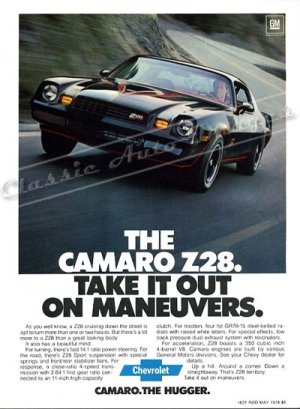 """1978 Camaro Z/28 Ad Digitized & Re-mastered Poster Print """"Take it Out on Maneuvers"""" 24"""" x 32"""""""