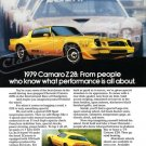 """1979 Camaro Z/28 Ad Digitized & Re-mastered Poster Print """"What Performance is All About"""" 24"""" x 32"""""""