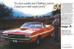 """1970 Dodge Challenger R/T Ad Digitized & Re-mastered Poster Print """"Mighty Pretty"""" 24"""" x 36"""""""