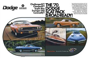 """1970 Dodge Scat Pack Ad Digitized & Re-mastered Poster Print """"Road Ready"""" 24"""" x 36"""""""
