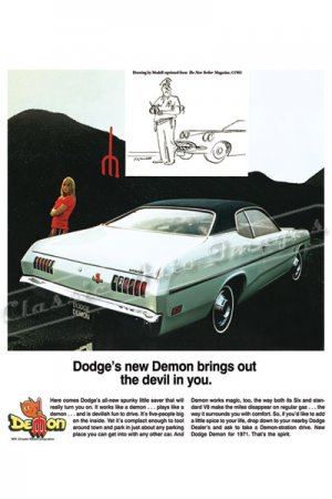 """1971 Dodge Demon Ad Digitized & Re-mastered Poster Print """"Brings Out the Devil in You"""" 24"""" x 36"""""""