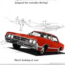 "1966 Oldsmobile 442 Ad Digitized & Re-mastered Poster Print ""Here's Looking at You!"" 24"" x 32"""