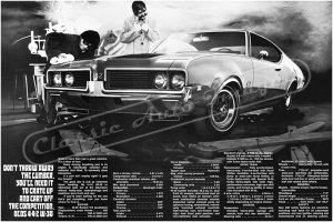 "1969 Oldsmobile 442 Ad Digitized & Re-mastered Poster Print ""Don't Throw Away the Lumber"" 24"" x 36"""