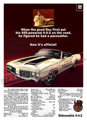 "1970 Oldsmobile 442 Ad Digitized & Re-mastered Poster Print ""Pacesetter"" 24"" x 32"""